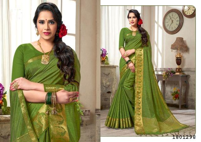 Mahendi Green Color Golden Weaving Border Design Nylon  Saree 1801298