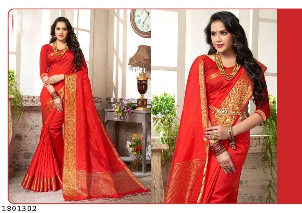 Red Color Golden Weaving Border Design Nylon  Saree 1801302