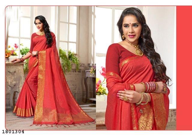 Red Color Golden Weaving Border Design Nylon  Saree 1801304