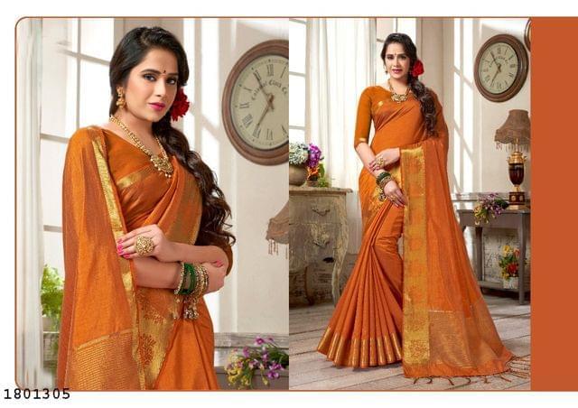 Brown Color Golden Weaving Border Design Nylon  Saree 1801305