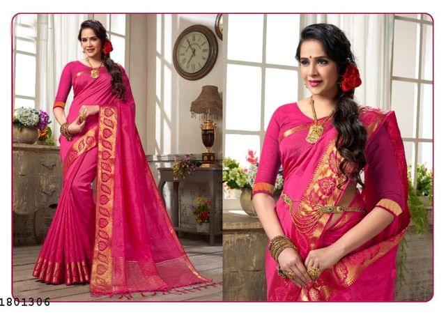 Pink Color Golden Weaving Border Design Nylon  Saree 1801306