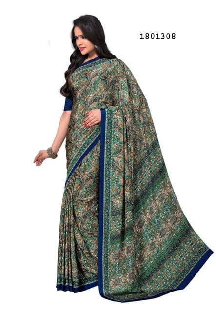 Green Color Silk Crepe  All Over Printed Design Saree 1801308