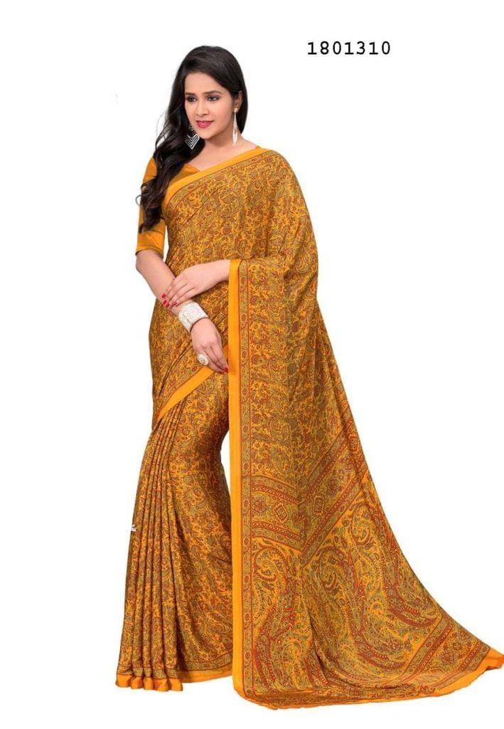Mustard yellow Color Silk Crepe All Over Printed Design Saree 1801310