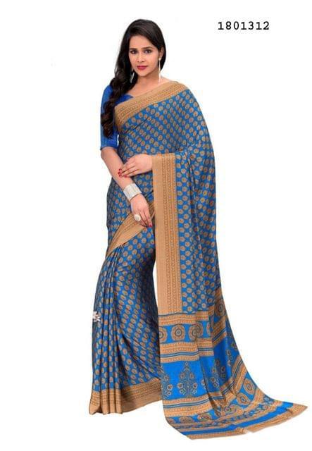 Blue Color Silk Crepe All Over Printed Design Saree 1801312