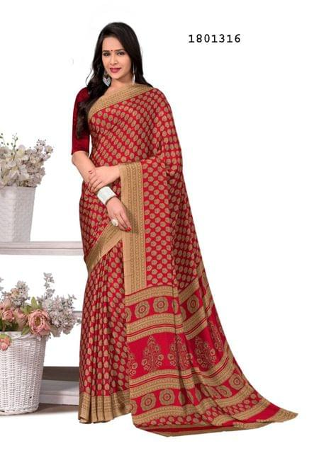 Red Color Silk Crepe All Over Printed Design Saree 1801316