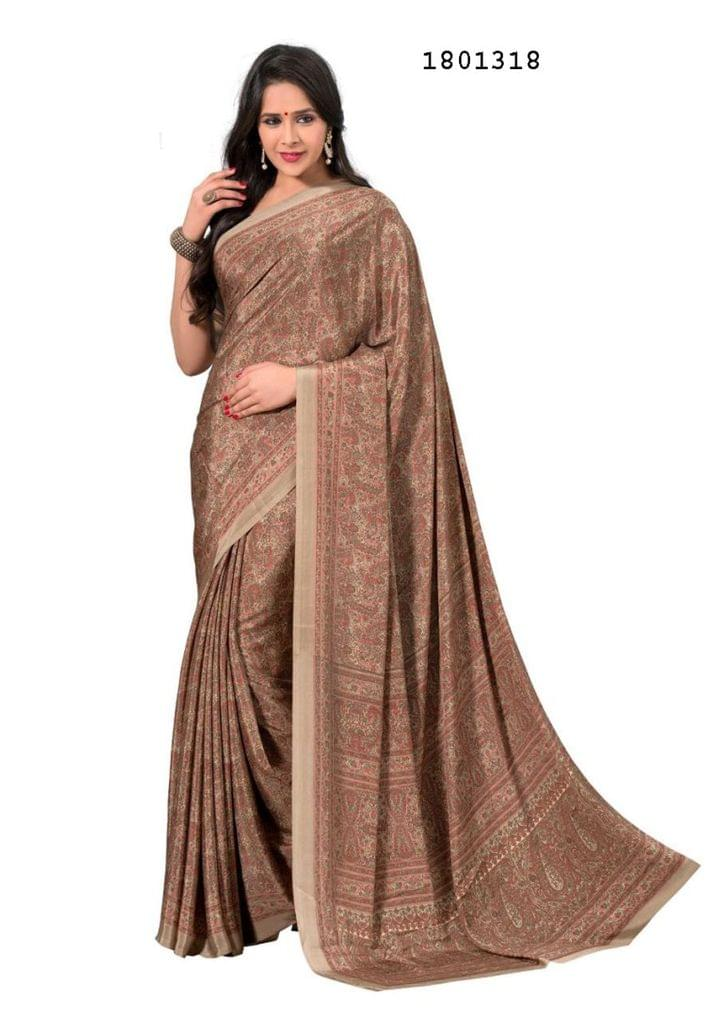 Brown Color Silk Crepe All Over Printed Design Saree 1801318