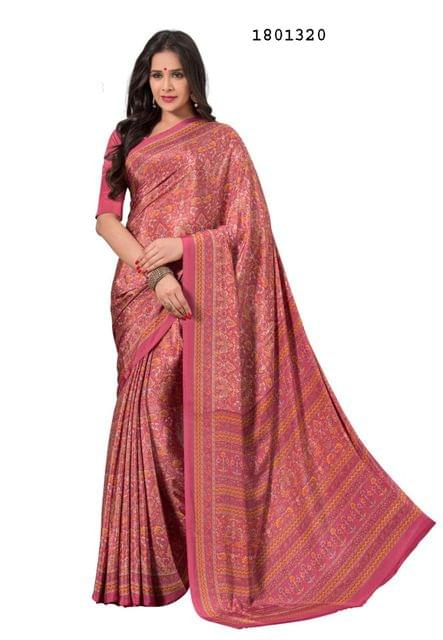 Pink Color Silk Crepe All Over Printed Design Saree 1801320
