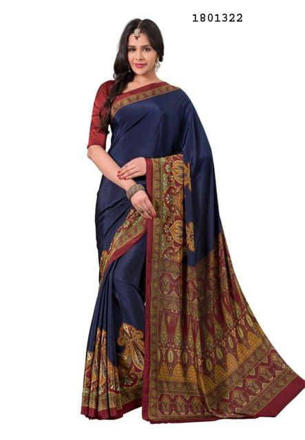 Navy Blue Color Silk Crepe  All Over Printed Design Saree 1801322