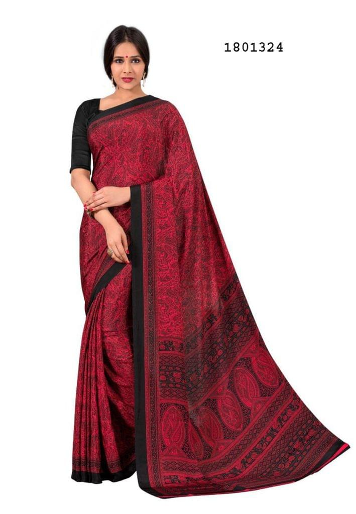 Red Color Silk Crepe All Over Printed Design Saree 1801324