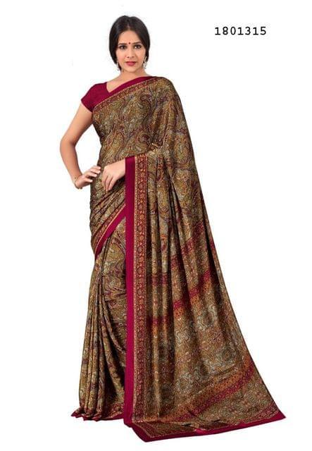 Maroon Color Silk Crepe All Over Printed Design Saree 1801315