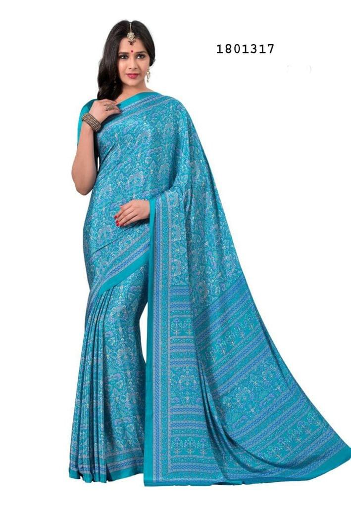 Blue Color Silk Crepe All Over Printed Design Saree 1801317