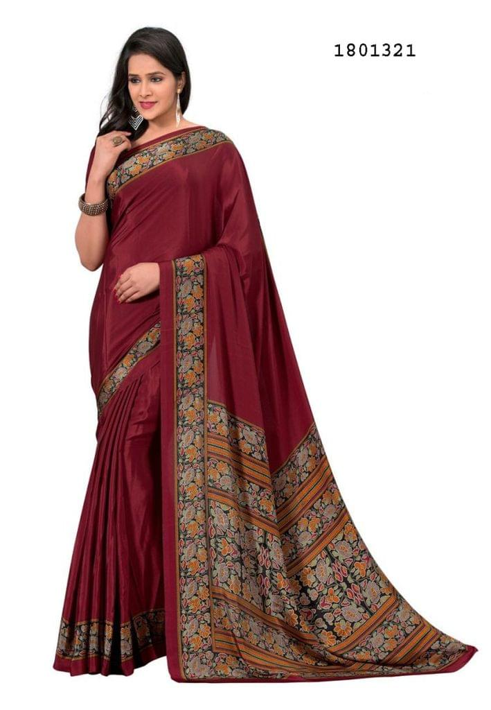 Maroon Color Silk Crepe All Over Printed Design Saree 1801321