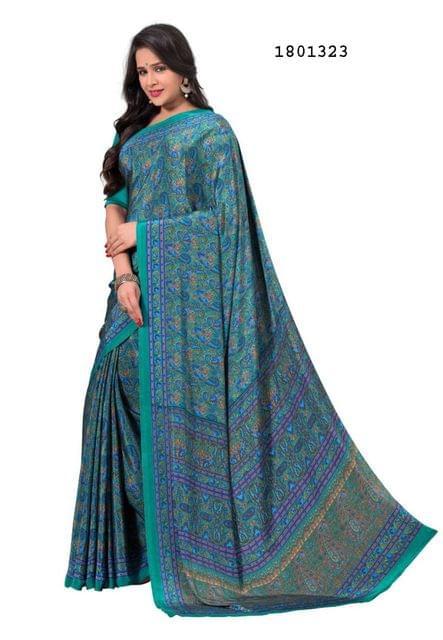 Blue Color Silk Crepe All Over Printed Design Saree 1801323