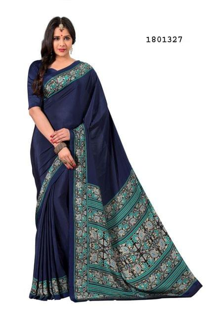 Navy Blue Color Silk Crepe All Over Printed Design Saree 1801327
