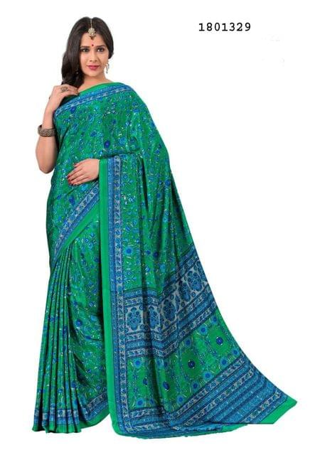 Sea Green Color Silk Crepe  All Over Printed Design Saree 1801329