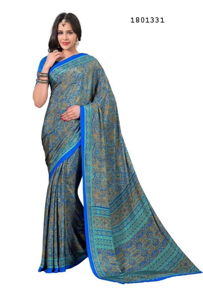 Blue Color Silk Crepe All Over Printed Design Saree 1801331