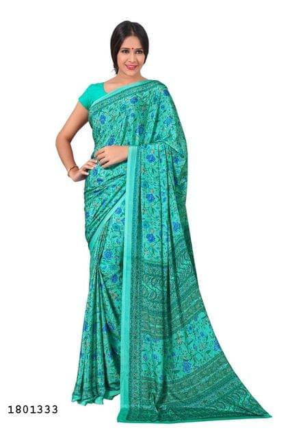 Sea Green Color Silk Crepe All Over Printed Design Saree 1801333