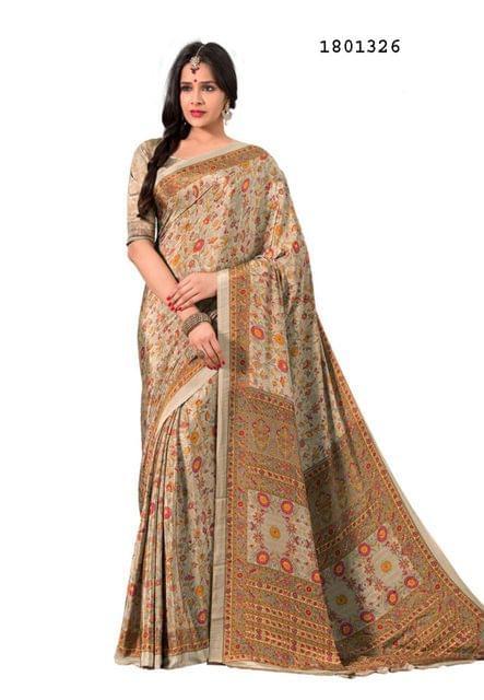 Chikoo Color Silk Crepe All Over Printed Design Saree 1801326