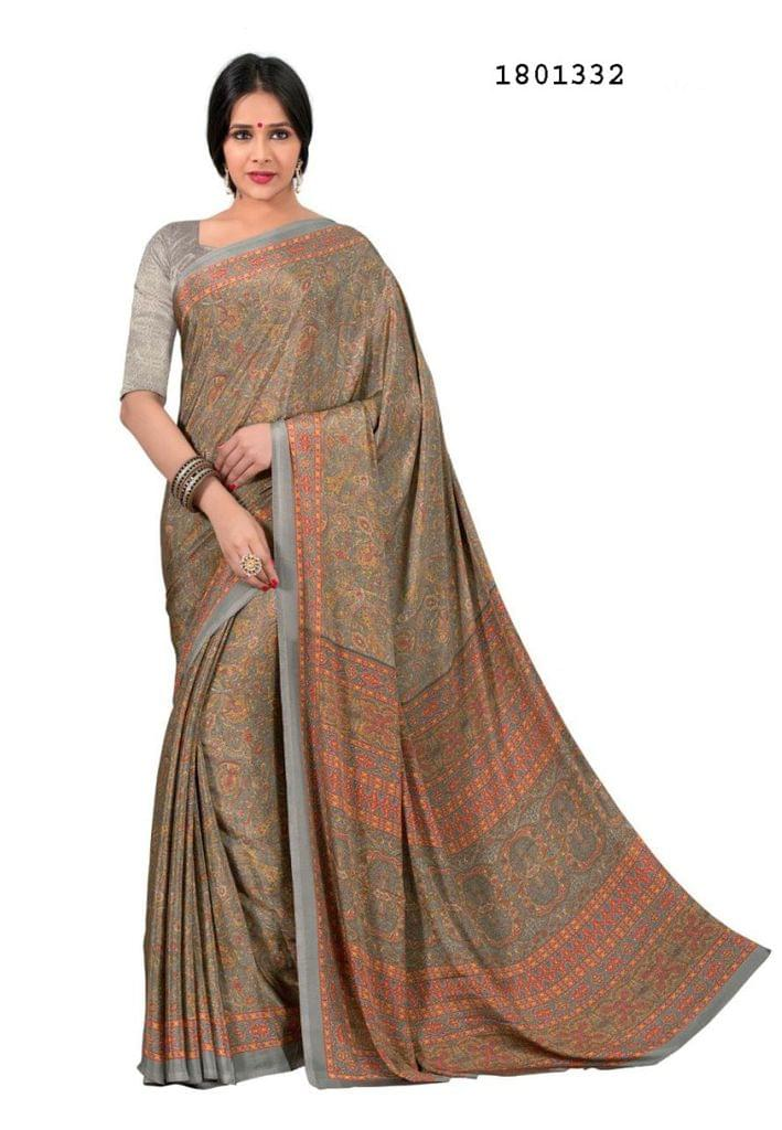 Beige Color Silk Crepe All Over Printed Design Saree 1801332