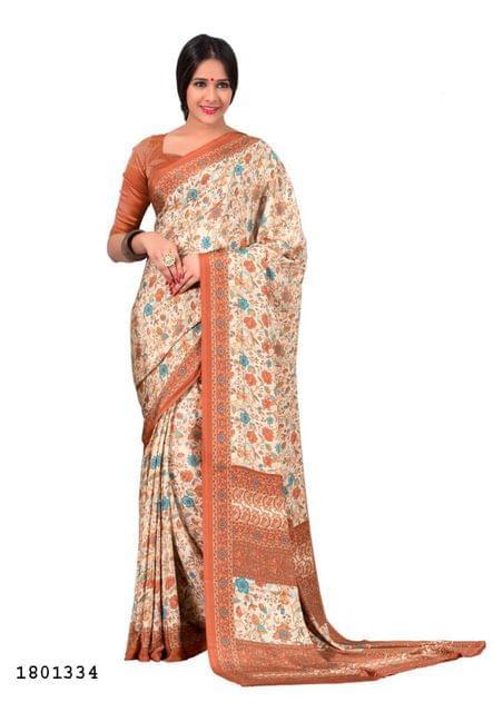 Cream Color Silk Crepe All Over Printed Design Saree 1801334