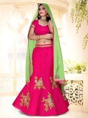 Rani Pink Silk  Semi Stitched Lehenga Choli  1711005