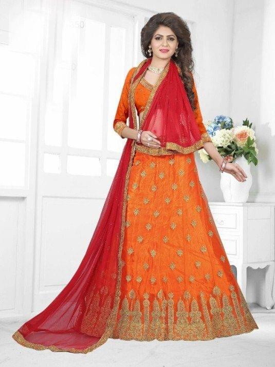 Orange Net  Embroidered Semi Stitched Lehenga Choli  1711006