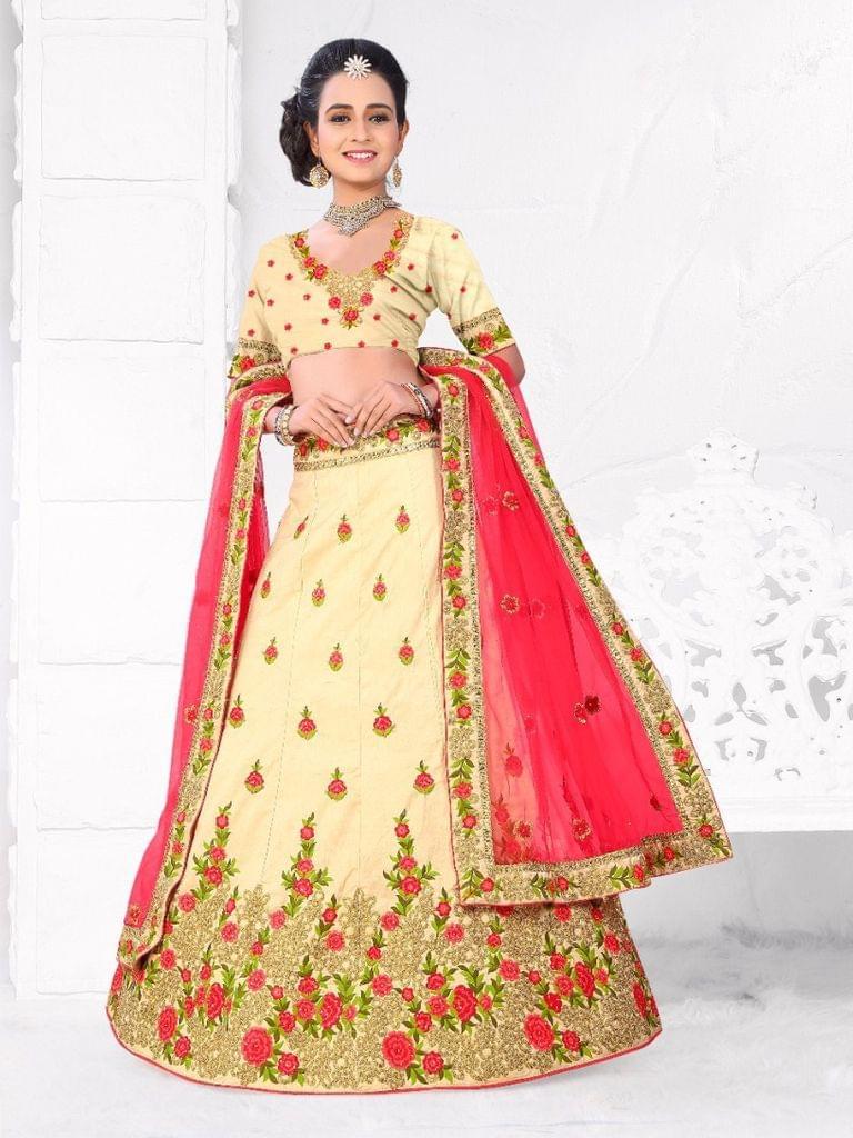 Cream  Silk Semi Stitched Lehenga Choli  1711104