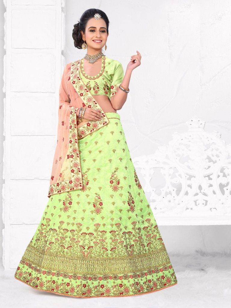 Pista Green   Silk Semi Stitched Lehenga Choli  1711106