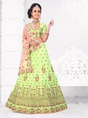Pista Green   Silk Semi Stitched Lehenga Choli  1711106