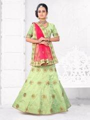 Pista Green Color  Silk Semi Stitched Lehenga Choli  1711108