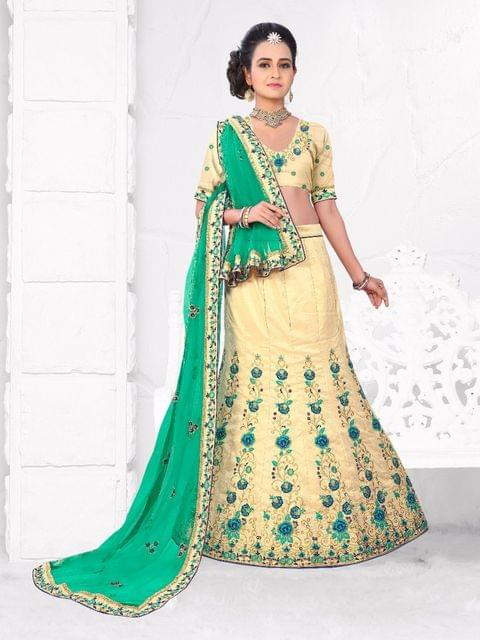 Cream  Silk  Semi Stitched Lehenga Choli  1711105