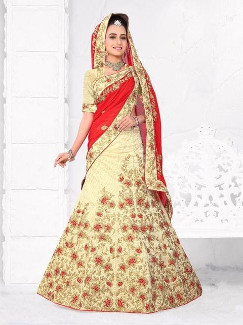 Golden  Color Silk Semi Stitched Lehenga Choli  1711107