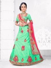 Sea Green Color   Silk Semi Stitched Lehenga Choli 1711109