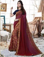 Purple & Maroon Color Rangoli Georgette Designer Embroidery Work Saree 27200