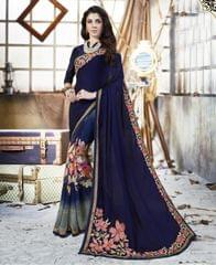 Navy Blue Color Georgette Designer Embroidery Work Saree 27202