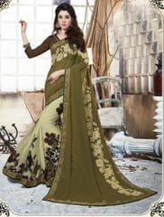 Mahendi & white Color Georgette Designer Embroidery Work Saree 27204