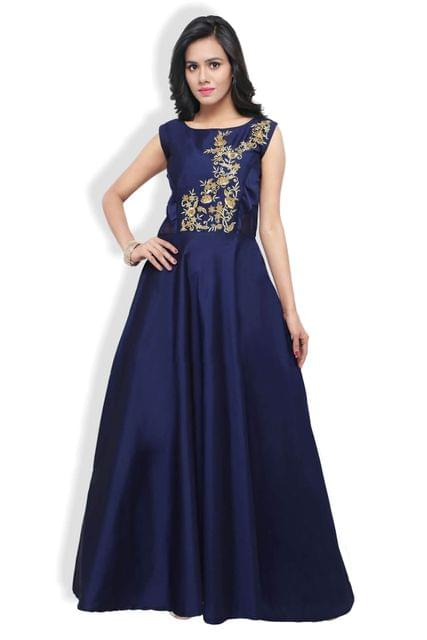 Navy Blue Mohe Heavy Embroidered A-line Gown EKKG-04