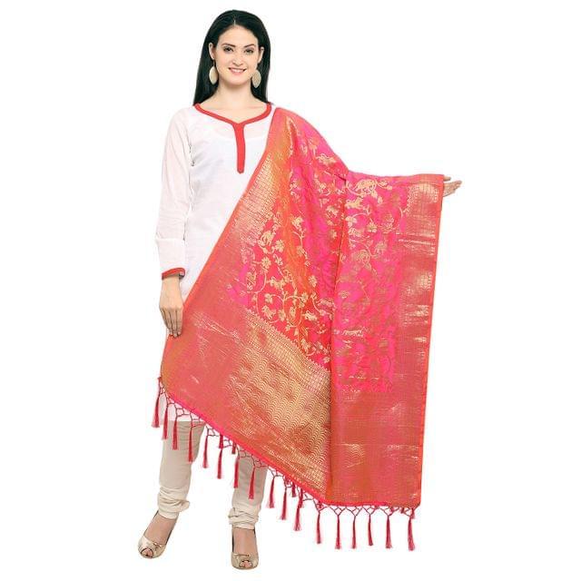 Pink & Golden Art Silk Banarasi Dupatta  with Tassel EKDP-021