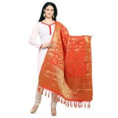 Latest Orange & Golden Banarasi Style Dupatta EKDP-023