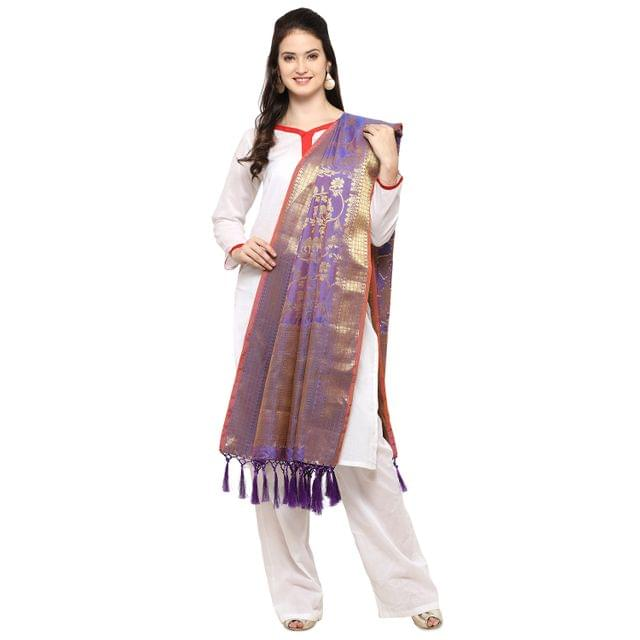 Blue&Golden Banarasi Style Dupatta  with Tassel EKDP-025