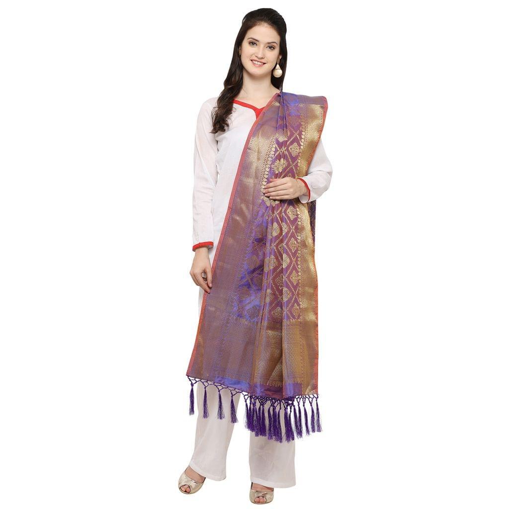 Blue & Golden Banarasi Style Dupatta  with Tassel EKDP-027