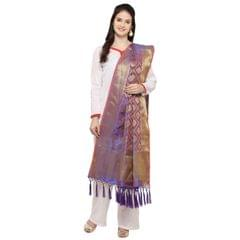 Blue & Golden Banarasi Style Dupatta  with Tassel EKDP-027