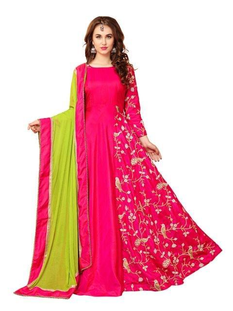 Pink Banarasi Silk Embroidered A-Line Gown  EKKG-02