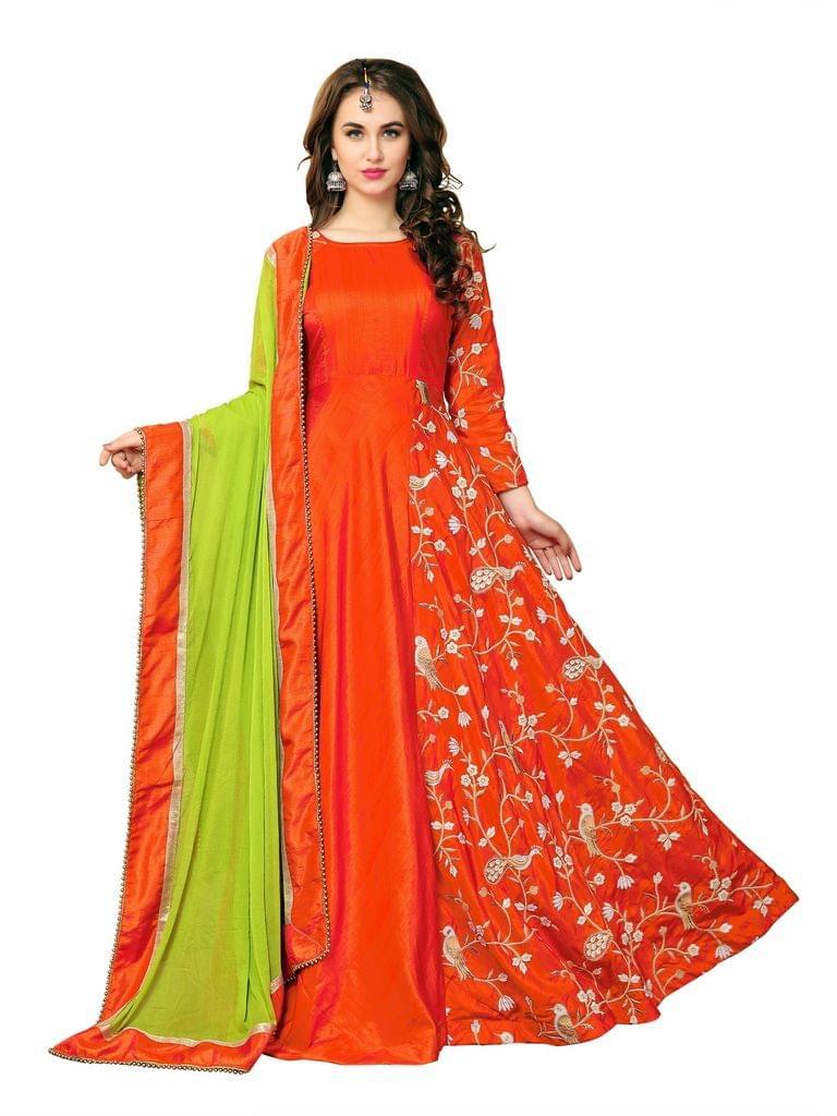 Orange Banarasi Silk Embroidered A-Line Gown EKKG-06