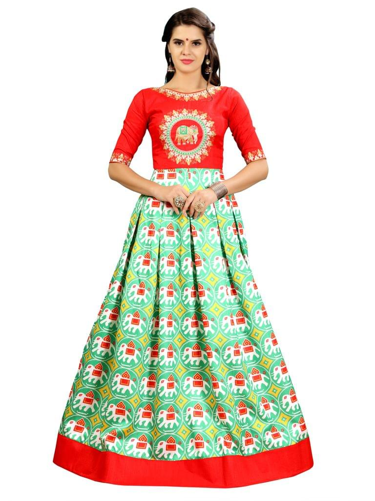Parrot Green And Red Ikat Patola Gown EKKG-012