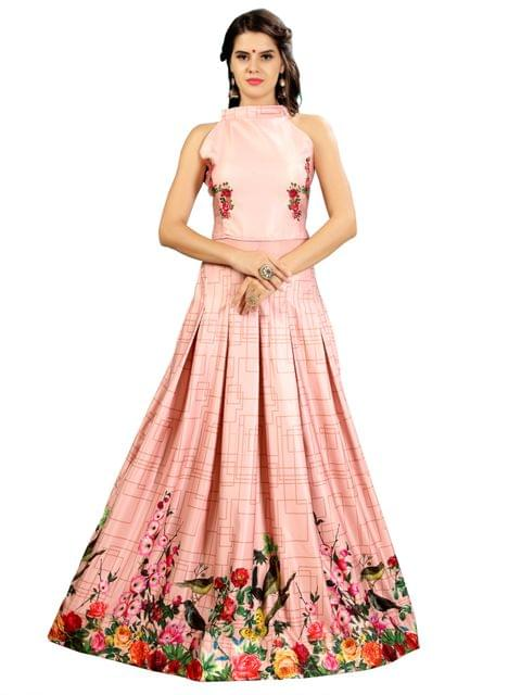 Peach Floral Digital  Printed Gown EKKG-014