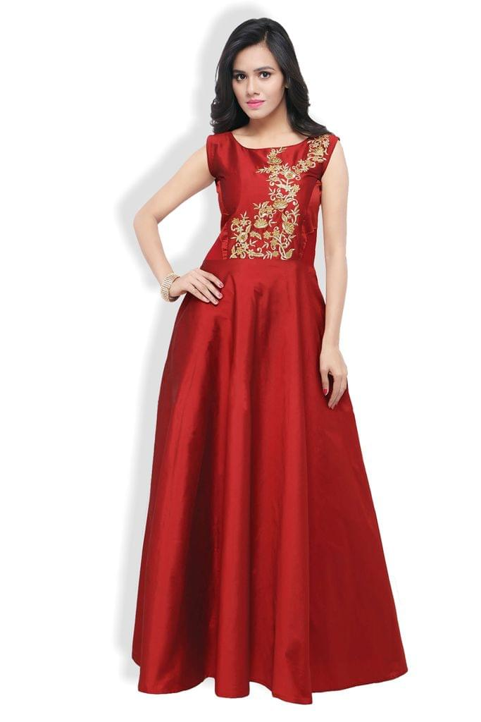 Maroon Mohe Heavy Embroidered A-line Gown EKKG-05