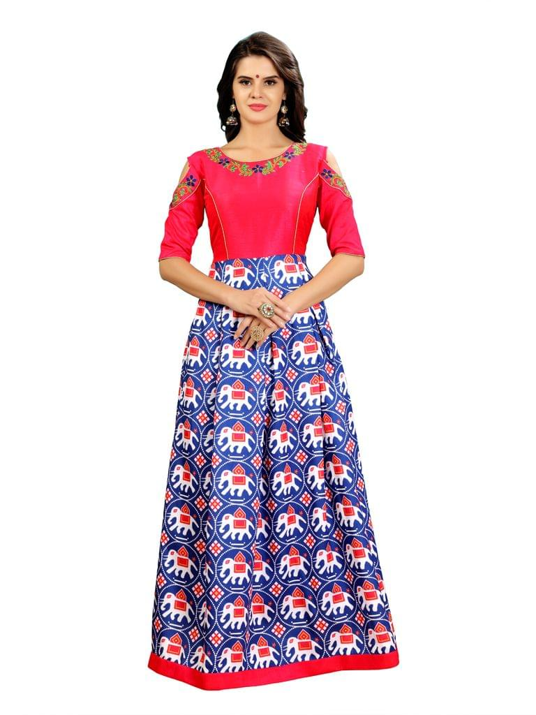 Royal Blue Color And Pink Ikat Patola Gown EKKG-011