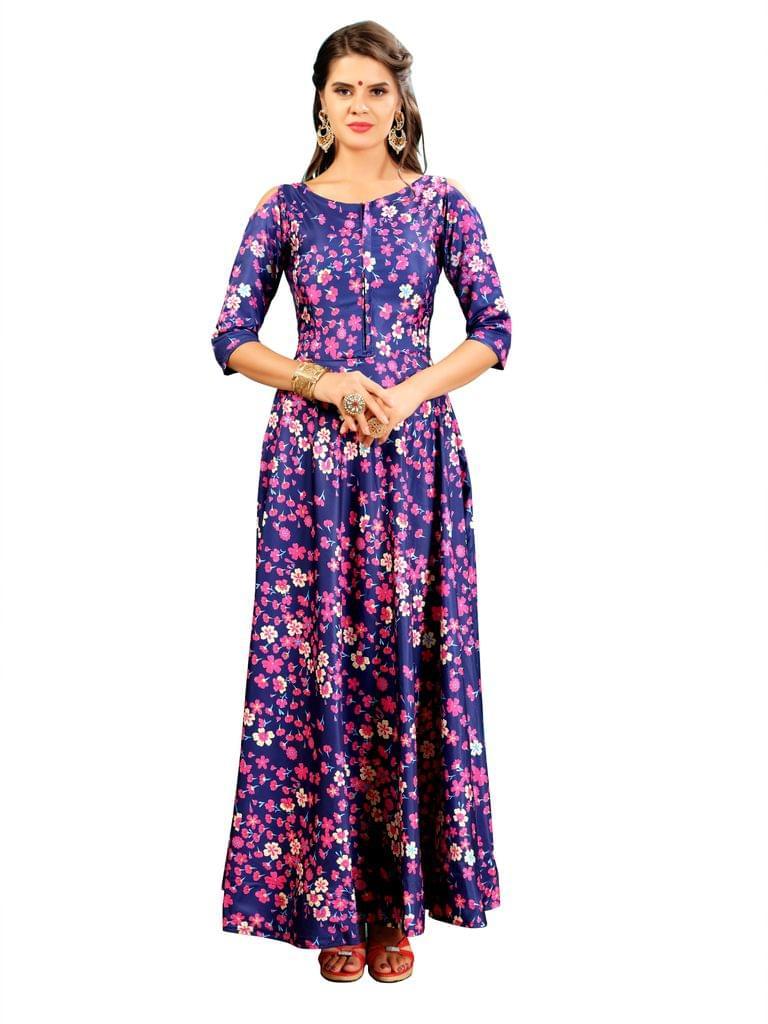Blue Floral Digital  Printed Gown EKKG-013