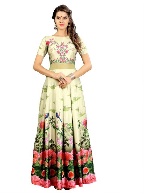 Light Green Floral Digital  Printed Gown EKKG-015